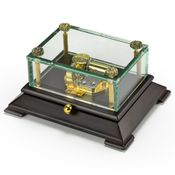 Exclusive Crystal Music Box w. Contemporary Wooden Base OVERSTOCK PRICE