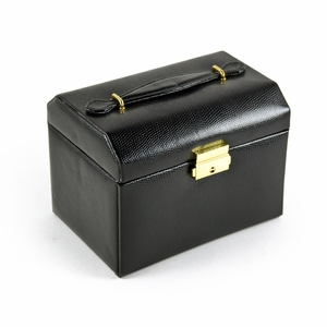 Exotic Black Snake Skin Faux Leather Multi-Tier Jewelry Box With Lock