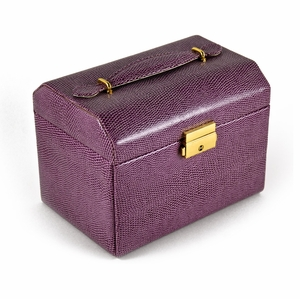 Exotic Purple Snake Skin Faux Leather Multi-Tier Jewelry Box With Lock