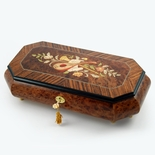 Exquisite 30 Note Grand Music and Floral Wood Inlay with Cut Corners Music Jewelry Box