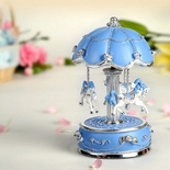 Exquisite Blue and Silver World's Fair Style Animated Musical Carousel