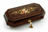 Exquisite Grand Music & Floral Inlay, Cut Corners Music Jewelry Box