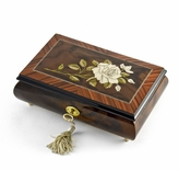 Exquisite Single Stem White Rose Musical Jewelry Box