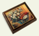 """Exquisite Wood Tone Ercolano Musical Jewelry Box - """"Swan Melody"""" by Lena Liu"""