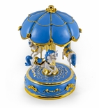 Exquisite World's Fair Style Blue Canopy With Gold Accents Animated Musical Carousel