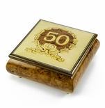 Extraordinary 50th Anniversary / Birthday with Gold Wreath Music Box
