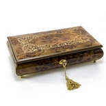 Extraordinary Handcrafted Arabesque Wood Inlay Musical Jewelry Box with Lock and Key