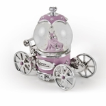 Extraordinary Pink and Silver Fairy Tale Princess Snow Globe Musical Carriage