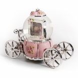 Fairytale Pink and Silver Pumpkin Carriage with Photo Frame Water Globe