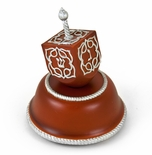 Festive Musical Dreidel With Silver Accents on Wooden Base