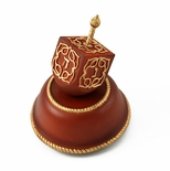 Festive Musical Dreidel with Wooden Base and Gold Accents