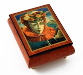 "Festive Painted Ercolano Music Box of a Carnival / Venetian Mask titled ""Memories of Summer"""