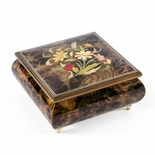 Floral Arrangement with Lady Bug Wood Inlay 22 Note Musical Jewelry Box