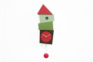 Fun Cartoon-Like Modern Red and Green Cuckoo Clock - Crooked by Progetti
