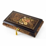 Gentle 36 Note Roses with Rosewood Frame Musical Jewelry Box