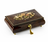 Gorgeous 18 Note Dark Natural Wood Tone Floral Inlay Musical Jewelry Box with Lock and Key