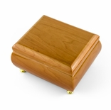 18 Note Natural Light Wood Tone Glossy Musical Jewelry Box