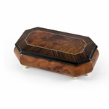 Gorgeous 18 Note Natural Wood Tone Classic Style Cut Corner Music Box