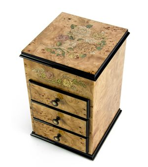 Gorgeous 22 Note Bijoux Armoire with Roses Inlay Musical Jewelry Box