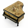 Gorgeous 22 Note Burl-Elm Music and Floral Theme Grand Piano Music Box