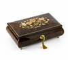 Gorgeous 30 Note Dark Natural Wood Tone Floral Inlay Musical Jewelry Box with Lock and Key