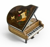 Gorgeous 30 Note Miniature Musical Grand Piano with Musical Theme Inlay