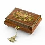 Gorgeous 30 Note Santos Mahogany Floral Inlay Musical Jewelry Box with Lock and Key