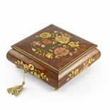 Gorgeous 30 Note Spring Roses Inlay Musical Jewelry Box with Lock and Key