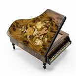 Gorgeous 36 Note Burl-Elm Music and Floral Theme Grand Piano Sorrento Music Box