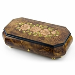 Gorgeous 72 Note Sankyo Pink Roses Inlay with Cut Corners Inlay Grand Music Box