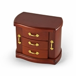 Gorgeous and Spacious Upright Wood Tone Musical Jewelry Box