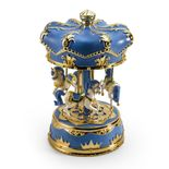 Gorgeous Blue Canopy with Gold Accents Animated Musical Carousel Keepsake