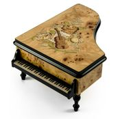 Gorgeous Burl-Elm Music and Floral Theme Grand Piano Sorrento Music Box