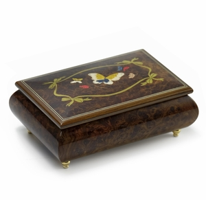 Gorgeous  22 Note Graceful Butterfly with Ribbon Outline Wood Inlay Music Box