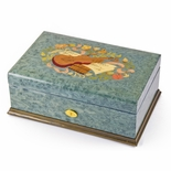 Gorgeous Handcrafted 50 Note Sankyo Light Blue Music Theme Inlay Grand Music Box