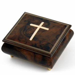 Gorgeous Handcrafted Natural Wood Tone Musical Jewelry Box with Holy Cross Inlay