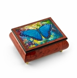 "Gorgeous Handcrafted Red-Wine Butterfly Music Box by Ercolano - ""Blue Morpho"" Simon Bull"