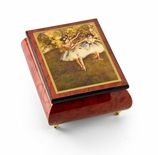 "Gorgeous Handcrafted Red Wine Music Box by Ercolano - ""The Dancers on Stage""- Degas"