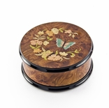 Gorgeous Handcrafted Round Butterfly and Floral Music Jewelry Box
