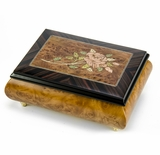 Gorgeous Handmade Burl-Walnut  Music Box with Pink Rose Inlay