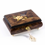 Gorgeous Hummingbird and White Rose Wood Inlay 18 Note Musical Jewelry Box