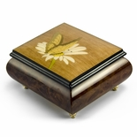 Gorgeous Natural Wood Tone Butterfly and Daisy Inlay Music Box