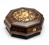 Gorgeous Octagonal 18 Note Music Theme Inlay Grand Musical Jewelry Box