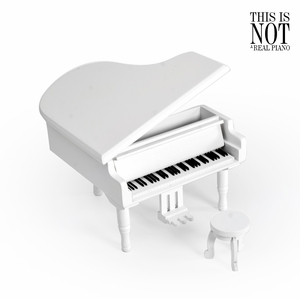 Gorgeous Small White Wooden Piano Musical Jewlery Box w. Stool