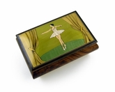 Gorgeous Wood Inlay 30 Note Ballerina Musical Jewelry Box