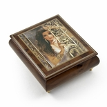 "Gorgeous Wood Tone  Ercolano Painted Music Box Titled ""Circe"" by Brenda Burke"