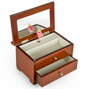 Gorgeous Wooded Carved Roses 18 Note Ballerina Musical Jewelry Box - Choose Any Song