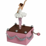 Graceful Ballerina on Stage Hand Cranked Musical Figurine