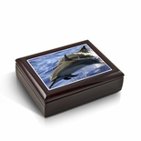 Graceful Dolphin Duo Frolicking Through Waves Tile Musical Jewelry Box