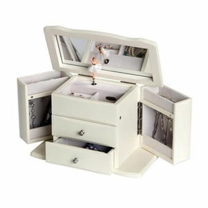 Graceful Ivory Musical Ballerina Jewelry Box - Angelica - by Mele